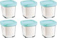 Seb XF100101 Lot de 6 Pots de Yaourts Verre Couvercle bleu avec Égouttoir