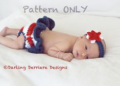 American Flag Diaper Cover and Star Headband Pattern by Darling Derriere Designs