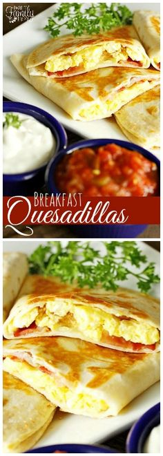 My family LOVES breakfast quesadillas. Much like a breakfast burrito, they are filled with egg, cheese and your favorite breakfast meat. via @favfamilyrecipz