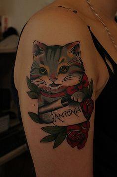 Cat tattoo. santu altamirano - bsas