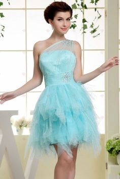 Jeanne Love Tulle Short Cocktail Dress Mint One Shoulder Zipper A-line Formal Wedding Party Dress Sexy Plus Size Cute Wedding Dress, Fall Wedding Dresses, Colored Wedding Dresses, Pageant Dresses, Wedding Party Dresses, Homecoming Dresses, Evening Dresses, Bridesmaid Dresses, Graduation Dresses