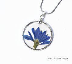 Blue flower in resin pendant  real flower by twocatsboutique, $23.00