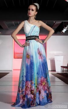 Charming A-Line One-Shoulder Floor-Length Flowers Evening Dresses sexy,European and American style ,Classic ,