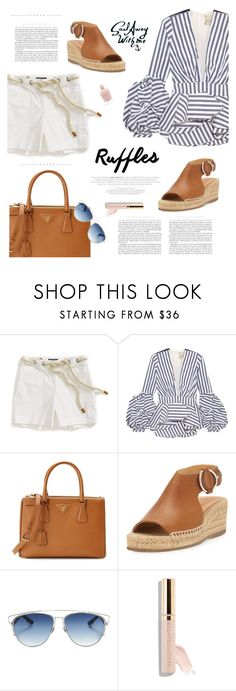 """Ruffle Top"" by cara-mia-mon-cher ❤ liked on Polyvore featuring Tommy Hilfiger, Johanna Ortiz, Prada, rag & bone, Christian Dior and Beautycounter"