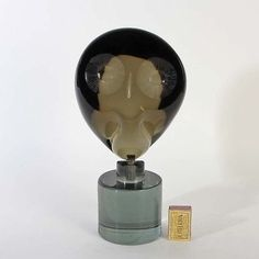 "Massive Skulptur ""Eule / owl"" aus Murano Glas Alfredo Barbini signiert"