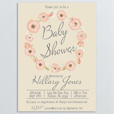 Pink Floral Wreath Baby Shower Invitation by AmaVitaDesigns