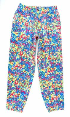 Vintage Op 90s Hammer Pants Neon Abstract Print Size M Cotton Retro 80s Tribal V #Op #Casual