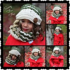 Ella Rose from Sugar Grits Boutique Models modeling a Savvy Fru Fru's Victoria Cowl Scarf and Slouchy Hat. Pattern design by Sincerely Pam. Orders at savvyfrufru.com or visit us on Facebook at www.facebook.com/..