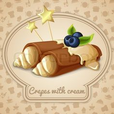 Stock vector of 'Crepes with cream dessert bakery emblem and food cooking icons on background vector illustration'