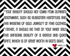 True Beauty Bible Verse  1 Peter 33  Black and by sweetleighmama, $12.00