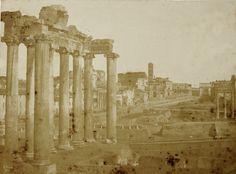 Roma. Foro, veduta con il Tempio di Saturno 1851 Salt print paper negative