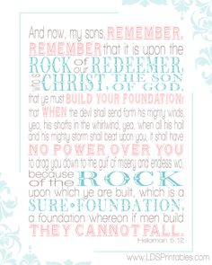LDS Printables: Build Upon the Sure Foundation