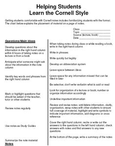 learning to take Cornell notes; this gives later reinforcement and study through the post-class organizing component.
