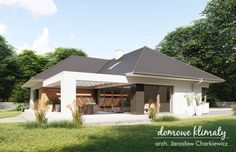 Projekt domu Bagatela 8 G2 130.91 m² - Domowe Klimaty Modern Bungalow House, Bungalow House Plans, Dream House Plans, House Floor Plans, House Entrance, Door Design, Ground Floor, Modern Farmhouse, Patio