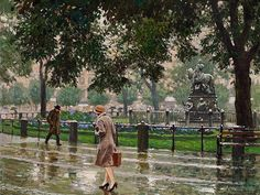 The Athenaeum - Rainy day in Kongens Nytorv (Paul-Gustave Fischer - )