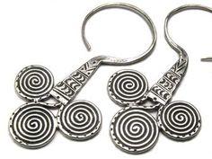 Hill Tribe silver Tribal Triple swirl earrings by KarenCottage.