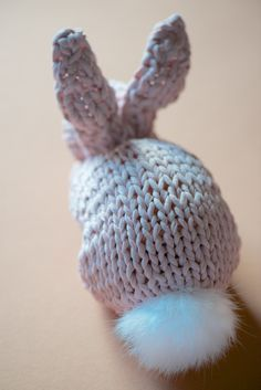 Very simple knit bunny pattern. Made from a knitted square!