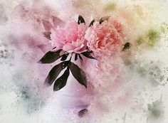 Peonies - Photoshop treated photo with a watercolor effect - the 'Fine art interpretation' series