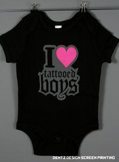 I Love Tattooed Boys Baby Onesie Romper Crawler by DentzDesign 6bd36be54ec5f