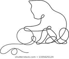 Continuous One Line Drawing Cat Stock Illustration 1335625124 Cat Outline, Outline Drawings, Easy Drawings, Animal Drawings, Single Line Drawing, Continuous Line Drawing, One Line Animals, Cat Quilt, Abstract Line Art