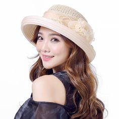 Crimping straw hat for summer wear sun beach hats UV protection