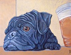 "Custom Pet Portrait Painting on Canvas in Acrylic of One Dog, Cat, Any Animal. 14"" x 18"" Gus the Brew Pub Pug with Beer Sample from Pet Portraits by Bethany"