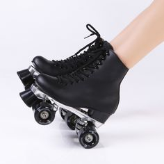 94.50$  Watch now - http://alig9d.worldwells.pw/go.php?t=32617171642 - 2016 NEW fashion full leather  double skates Breathable figure skating roller skates middle-heel double PU rollers sepcial brake 94.50$