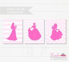 Princess Art Print Set - Girls Bedroom Decor - Cinderella - Snow White - Sleeping Beauty - Princess Silhouettes - Disney Inspired by KoalaPrintworks on Etsy https://www.etsy.com/listing/266191354/princess-art-print-set-girls-bedroom