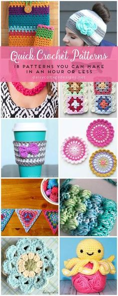 easy crochet patterns   quick crochet patterns   fast crochet projects   free crochet patterns   Daisy Cottage Designs has compiled this adorable collection of crochet patterns that are both quick and easy to make! Use them to make gifts for friends or goodies for yourself!