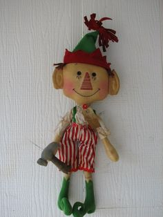 FTFD 7  Prim Santa's Helper - Christmas elf - Holiday Primitive Rag Doll e-pattern