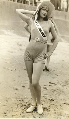 Miss France, a contestant at the first Miss World competition, held in Galveston, TX, during the 1920s.