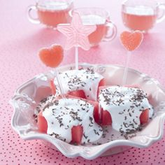 Great for a Princess Party or on Valentine's Day.........watermelon marshmallow puffs with chocolate dust