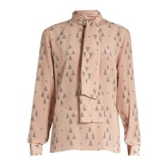 Valentino Triangle-print silk crepe de Chine blouse (64,400 INR) ❤ liked on Polyvore featuring tops, blouses, ballet top, crepe de chine blouse, pink silk top, silk tie blouse and pink blouse