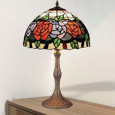 Lámpara de mesa Rosy cristal Tiffany