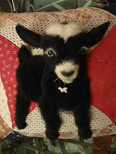 """OOAK FABRIC ART~REALISTIC HANDCRAFTED PYGMY GOAT """"CUPID"""" ~ANTIQUE QUILT PILLOW"""