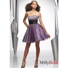 pictures of Beaded Tulle Strapless Short Dresses WDSD014 via Polyvore