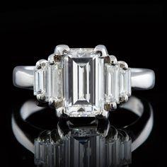 2.02 Carat GIA Cert Emerald Cut Diamond Platinum Engagement Ring image 2