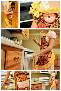 Super cute and easy apron tutorial. I found some cute maple leaf fabric and would like to make some for the woods.