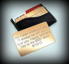 Engraved Copper Wallet Insert  Same Size As by SnappinEngraving, $15.00