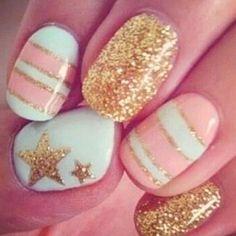 Nails pink, gold, and glitz