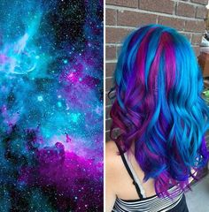 The new galaxy hair trend started to booming worldwide.Find out more about galaxy hair trend, costs and maintenance.Check pictures with galaxy hair trend Best Hair Dye, Dye My Hair, New Hair Colors, Cool Hair Color, Hidden Hair Color, Galaxy Hair Color, Crazy Hair, Purple Hair, Green Hair