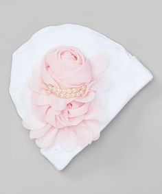 White Infant Baby Girl Beanie Hat with Chiffon Flower and Pearls