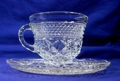 2 Anchor Hocking Wexford Tea Cups and Saucers Clear Glass Punch | eBay