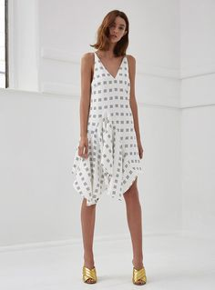 C/MEO Collective Spelt Out Print Dress – White Square Dot