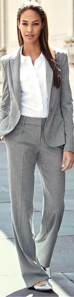 Classic grey blazer with khaki pants and fur scarf