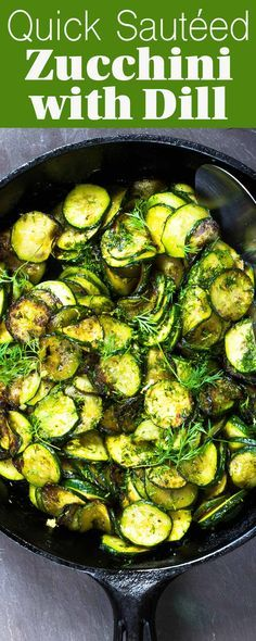 This sautéed zucchini withdill is such a SIMPLE and EASY side dish for summer meals. Six ingredients. Takes 15 minutes. (Gluten-free, Vegan, Paleo)