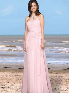 2016 Chiffon Floor Length Pink Davinci Bridesmaid Dress 60171