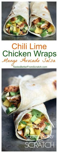 Chili Lime Chicken Wraps from TastesBetterFromScratch.com