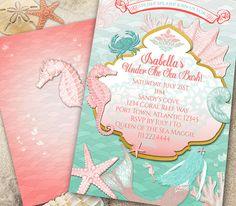 Mermaid Under the Sea Invitation-Mermaid by Hottomatoink2 on Etsy