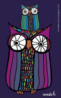 'Coruja Mãe e Coruja Filha' by Michelle Cunha